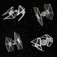 tie interceptor fighter 3d model