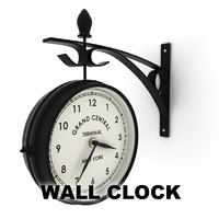 double sided wall clock 3d 3ds