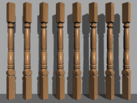 3d column stair decoration model