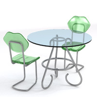 free glass table plastic chairs 3d model