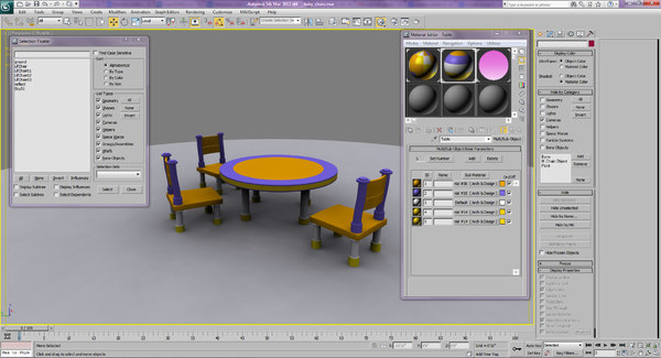 nursery table kids 3d 3ds - Nursery Chairs... by 3dmj