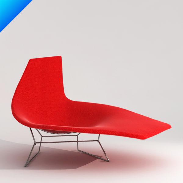 3d bertoia asymmetric chaise knoll furniture for Bertoia chaise prix