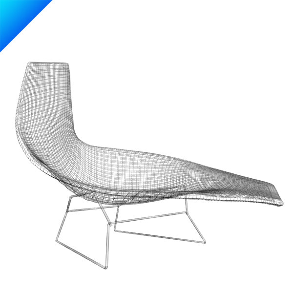 3d bertoia asymmetric chaise knoll furniture for Bertoia asymmetric chaise