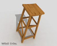 wood stool 3ds