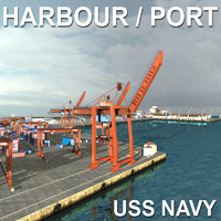 3d model uss harbour seaport port