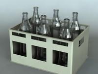 3d model bottles crate