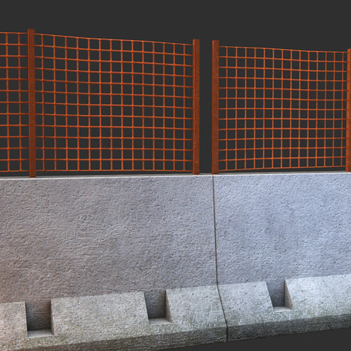 concrete barrier grid 3d model - Concrete Barrier with Grid... by Feuerlowe