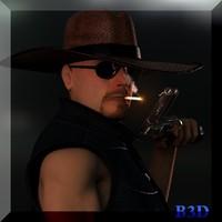 3d cowboy man model
