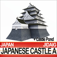 3d model japanese castle fortified pond