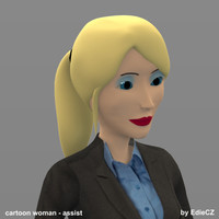 secretary cartoon woman 3d model