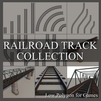 Low Polygon Railroad Track Collection