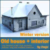 3d model of old house winter