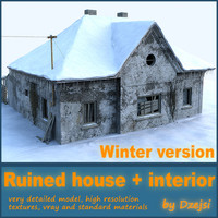 3ds max ruined house interior winter