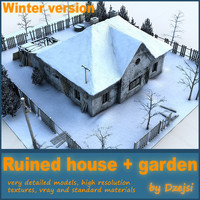 Ruined house + garden - winter version