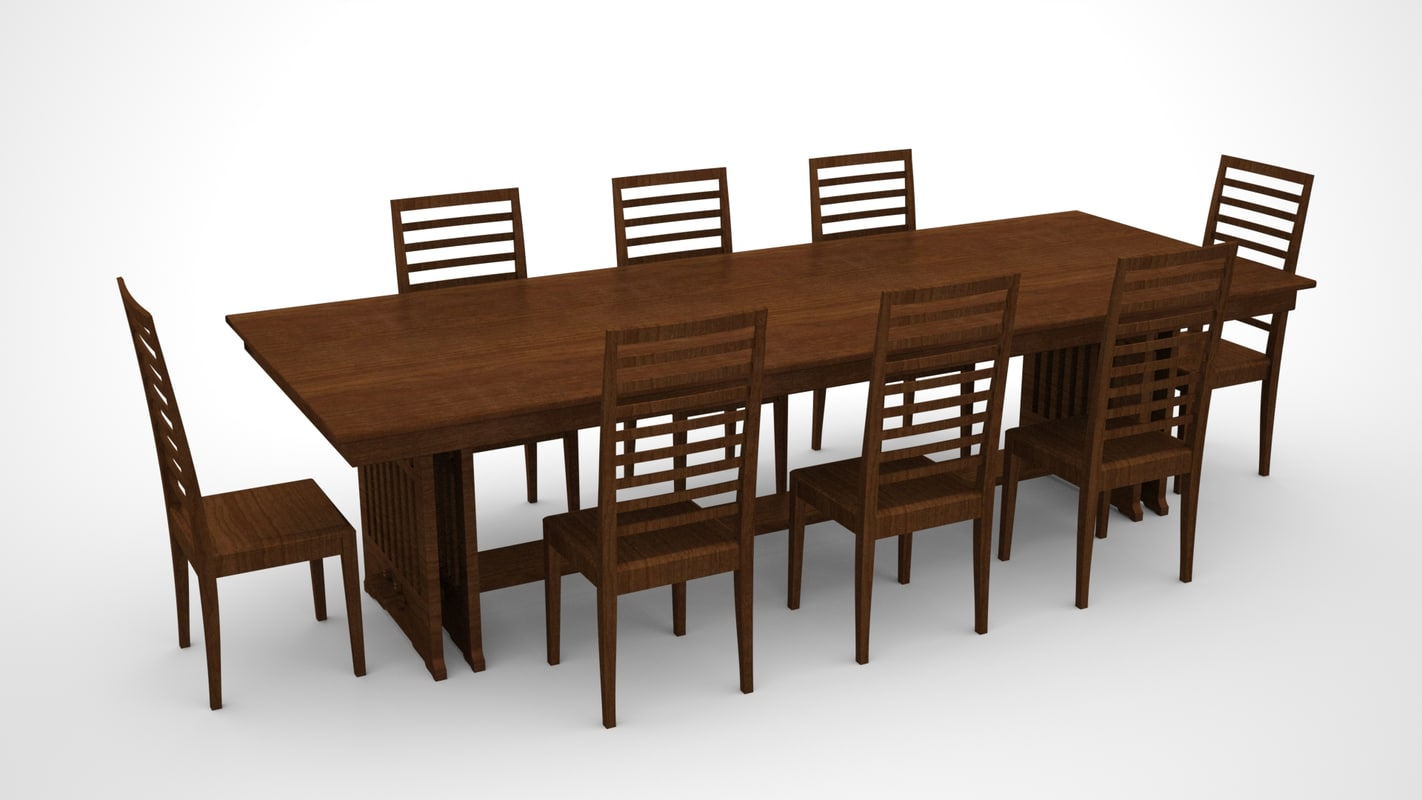 Large dining room table chairs 3d model for Dining table models