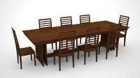 large dining room table chairs 3d model