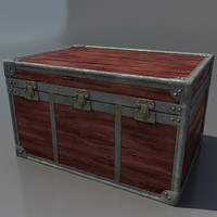 3d antique wood trunk