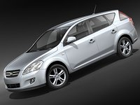 kia ceed 2008 car 3d 3ds
