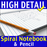 Spiral Notebook and Pencil 3D Model