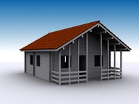 cottage wood 3d model