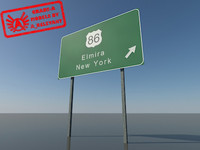 highway sign 2010 - 3d max