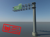 Highway Sign 3 - HD Highway Sign - 3ds max 2010 - Mental Ray