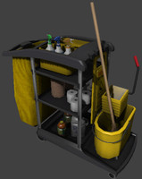 3d cleaning janitor cart model