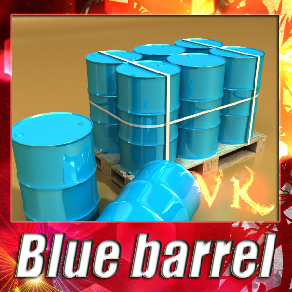 Blue barrel + pallet + High resolution textures