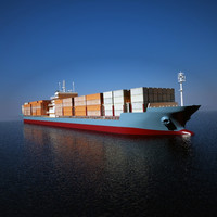 3ds max typical container vessel 200m