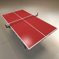 3d red ping pong table