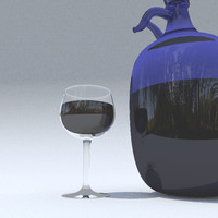 3d blue wine flask model