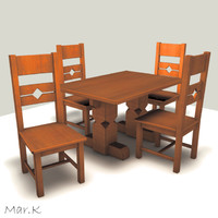 3d model of dinner table chairs