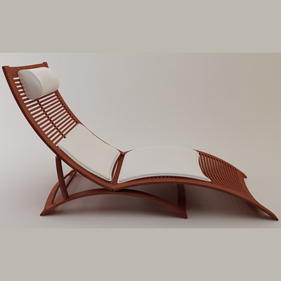deck chair 3d model - Wood Deck Chair... by ThePeriphery