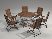 3d garden furniture set person model