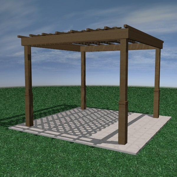 modern pergola 3d model. Black Bedroom Furniture Sets. Home Design Ideas