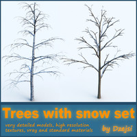 set trees snow 3d obj
