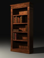 Bookcase & Books, Low Poly