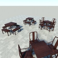 3d model asian tables chair