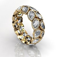 3d pear eternity ring model