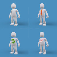 3d simple male cartoon model