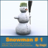 3dsmax snowman broom