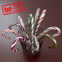Candy Canes 1 - Candy Canes In Cup - 3ds max 2010 - Mental Ray