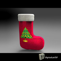 3d model christmas sock stocking