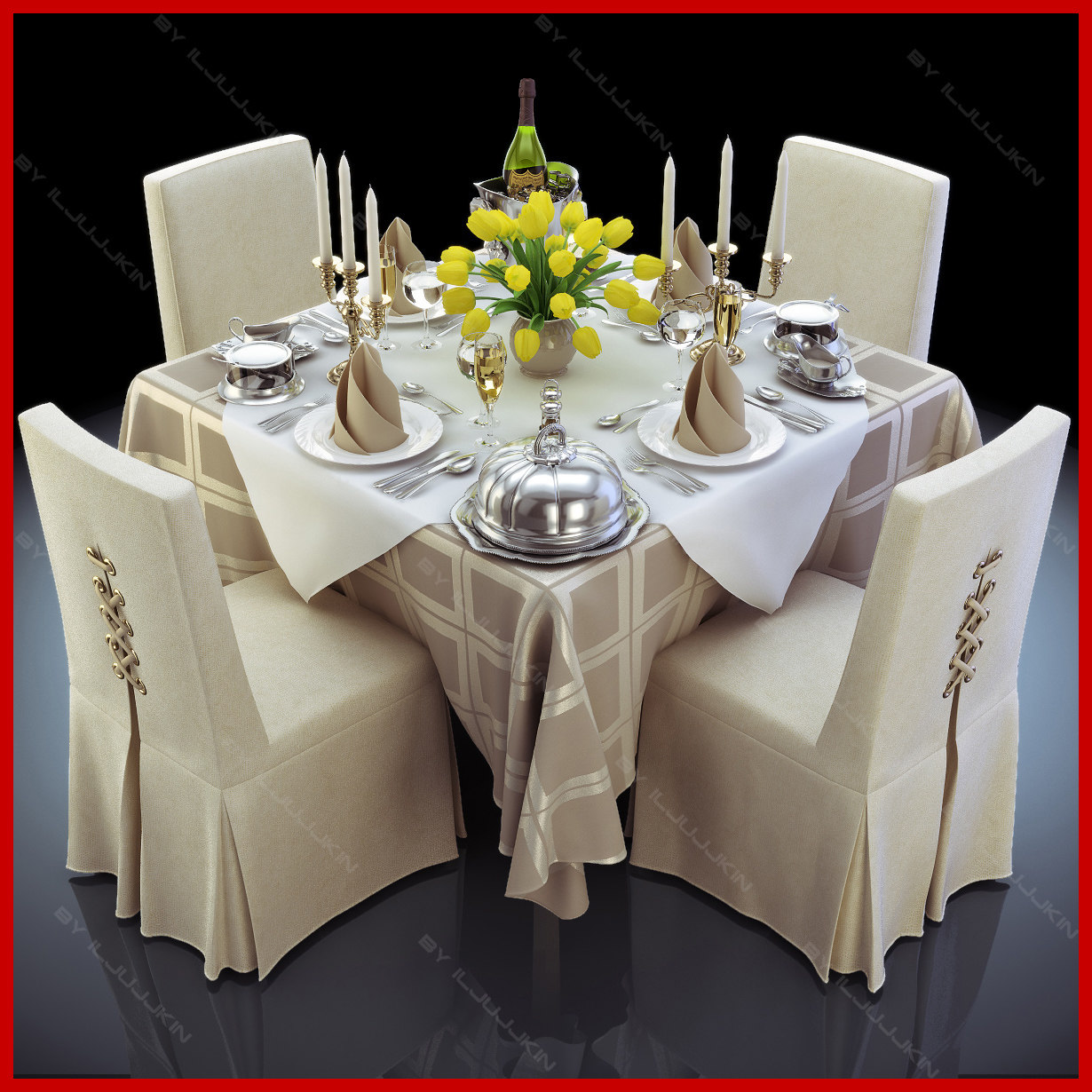 3d set restaurant table completely model. Black Bedroom Furniture Sets. Home Design Ideas