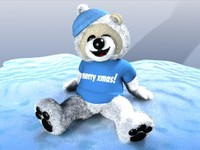 3d christmas snow teddy bear