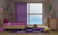 3d girl room model