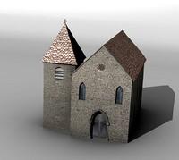 3d medieval church model