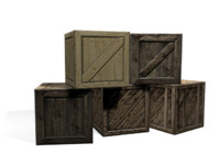 set wooden boxes 3d model
