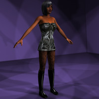 character females goth leather 3d model