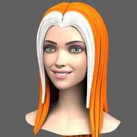Cartoon Girl Head + Morph Targets 3d Model